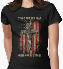 Stand for the flag. Kneel for the cross. Women's Fitted T-Shirt