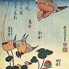 'Wilde Erdbeeren und Vögel' von Katsushika Hokusai (Reproduktion) von RozAbellera