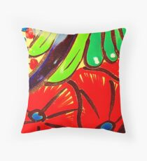Red Poppies Talavera Throw Pillow