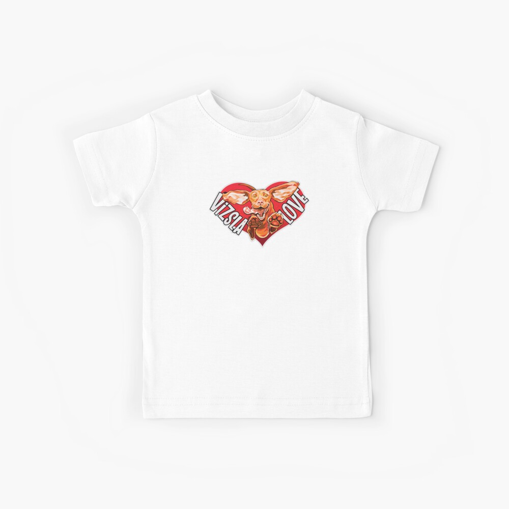 Feliz, emocionado húngaro Vizsla perro corriendo, jugando y saltando con el fondo del corazón. Vizsla Love! Camiseta para niños