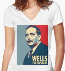 H.G Wells for President! Women's Fitted V-Neck T-Shirt
