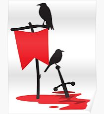 Black crows standing vigil on a blood red battlefield Poster