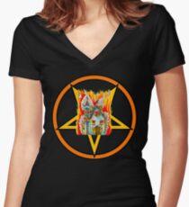 PENTAGRAM CHURCH BURNING Women's Fitted V-Neck T-Shirt