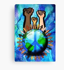 Unity And Peace - Raised Fists! Canvas Print
