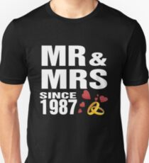 Top Gifts For Wedding Anniversary Since 1987. Funny T-shirt For Couples Unisex T-Shirt