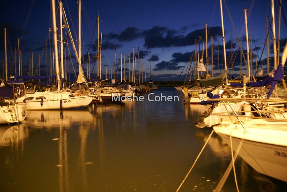 Tel Aviv marina at night by Moshe Cohen