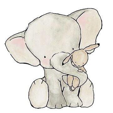 conejito y elefante amigos de stickersnstuff