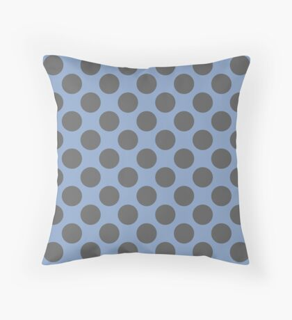 Blue and Grey Polka Dots Throw Pillow