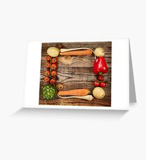 Vegetables frame on wooden board Greeting Card