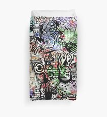 ironic chaos -  (black and white with color) Duvet Cover