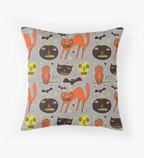 Faces of Halloween Throw Pillow