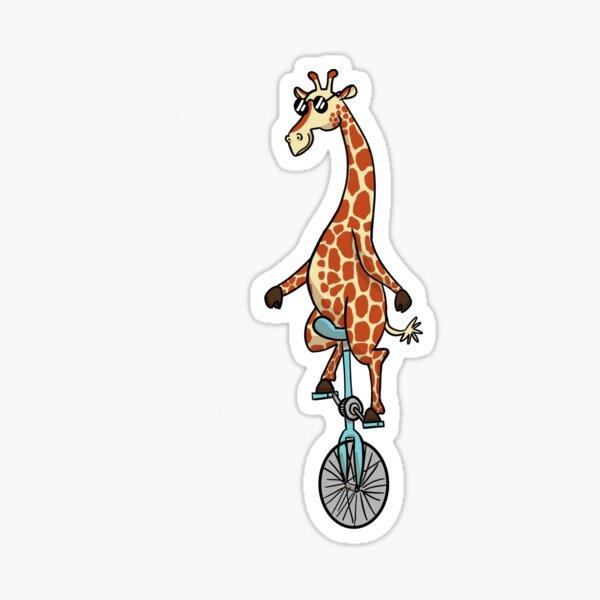 Sunglassed Giraffed Giraffe Unicycle Sticker