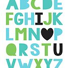 I love you alphabet in greens and blues by creativemonsoon