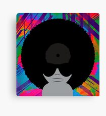 Funky Music Afro Vinyl Records Canvas Print