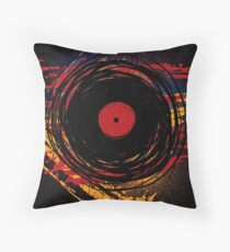Vinyl Record Retro Grunge with Paint and Scratches - Music DJ! Throw Pillow