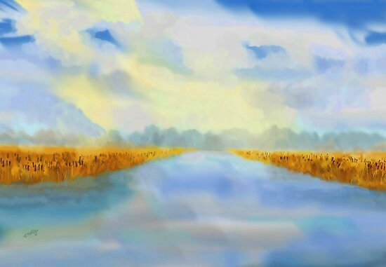 River blue  by Valerie Anne Kelly