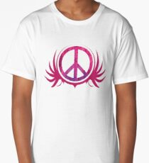 Peace Sign with Grunge Texture and Wings Long T-Shirt