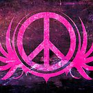 Peace Sign with Grunge Texture and Wings by Denis Marsili