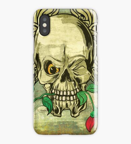 Cool Skull with Wings and Dead Rose iPhone Case/Skin