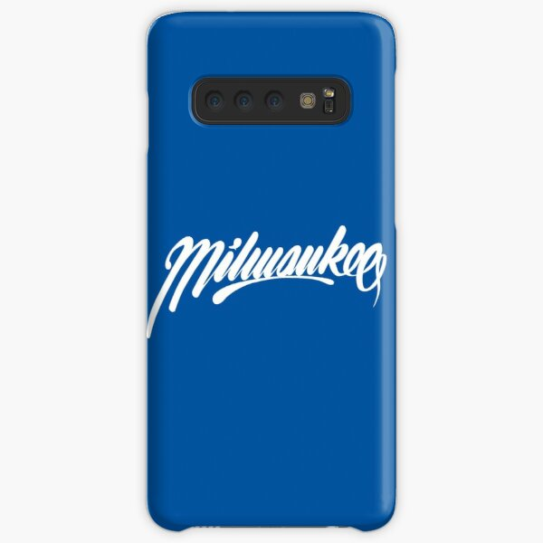 Milwaukee, WI - White on Blue hand script writing design Samsung Galaxy Snap Case