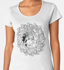 Zodiac sign Aquarius. Alchemy element - Air. Young man with long hair holding large amphora. Frame of curly clouds. Women's Premium T-Shirt