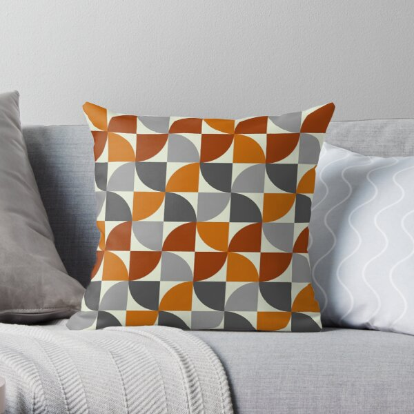 Grey and Orange Mid Century Modern Throw Pillow