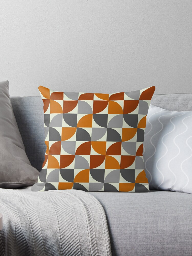 Quot Grey And Orange Mid Century Modern Quot Throw Pillows By