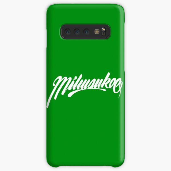 Milwaukee, WI - White on Green hand script writing design Samsung Galaxy Snap Case