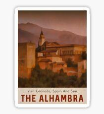 Alhambra Travel Poster Granada Spain Sticker
