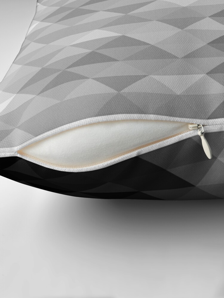 Alternate view of Grayscale triangle geometric squares pattern Throw Pillow