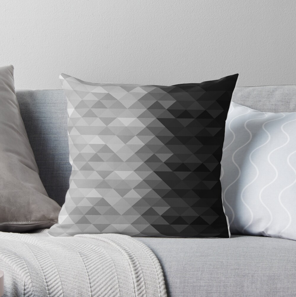 Grayscale triangle geometric squares pattern Throw Pillow
