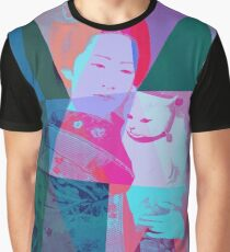 Japanese girl in a kimono with a cat in a geometric style Graphic T-Shirt