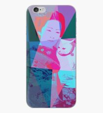 Japanese girl in a kimono with a cat in a geometric style iPhone Case