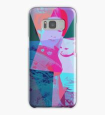 Japanese girl in a kimono with a cat in a geometric style Samsung Galaxy Case/Skin
