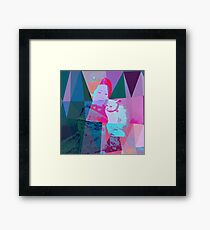 Japanese girl in a kimono with a cat in a geometric style Framed Print