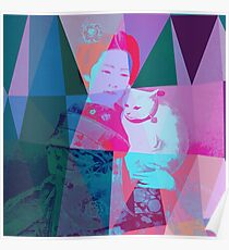 Japanese girl in a kimono with a cat in a geometric style Poster