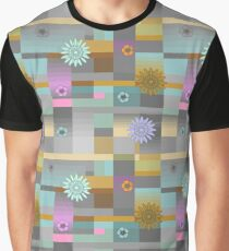 Flowers on squares in gray Graphic T-Shirt
