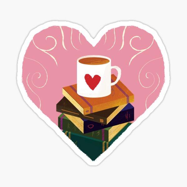 Book and Coffee Valentine Glossy Sticker