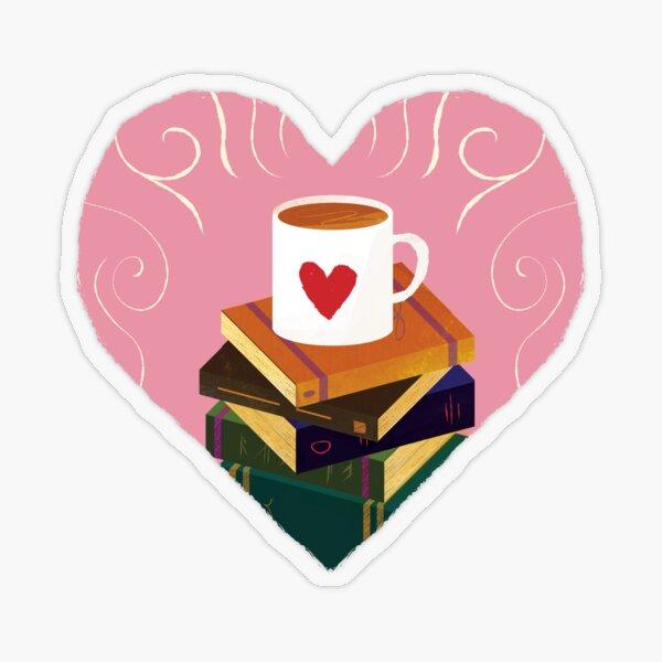 Book and Coffee Valentine Transparent Sticker