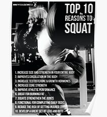Top 10 Reasons To Squat - Leg Day Infographic Poster