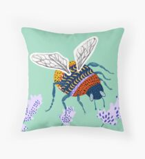 Bumble bee & Lavender - Mint Throw Pillow