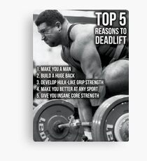 Top 5 Reasons To Deadlift - Back Day Infographic Canvas Print