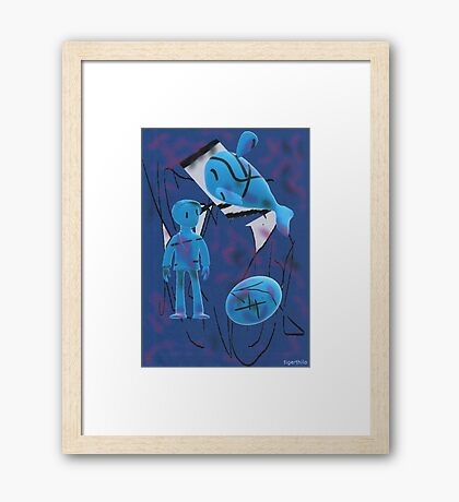 2305 - Me And Objects In The Blue Framed Print