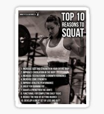 Top 10 Reasons To Squat - Women's Leg Day Infographic Sticker