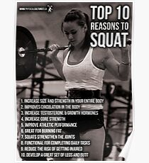 Top 10 Reasons To Squat - Women's Leg Day Infographic Poster