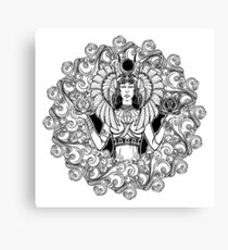 Zodiac sign Libra. Egyptian goddess Isis balancing in hands black and white lotus as a symbol of equilibrium. Decorative frame of clouds. Canvas Print
