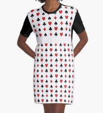 Playing Cards Symbol Pattern Graphic T-Shirt Dress