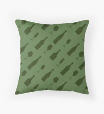 Seamless pattern with bottles and wineglass  Throw Pillow
