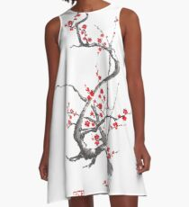 Chinese plum tree blossom sumi-e painting A-Line Dress