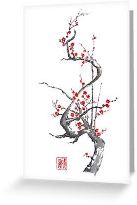 Chinese plum tree blossom sumi-e painting by Maryna Sokolyan